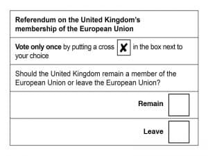 Brexit ballot alternative polling card