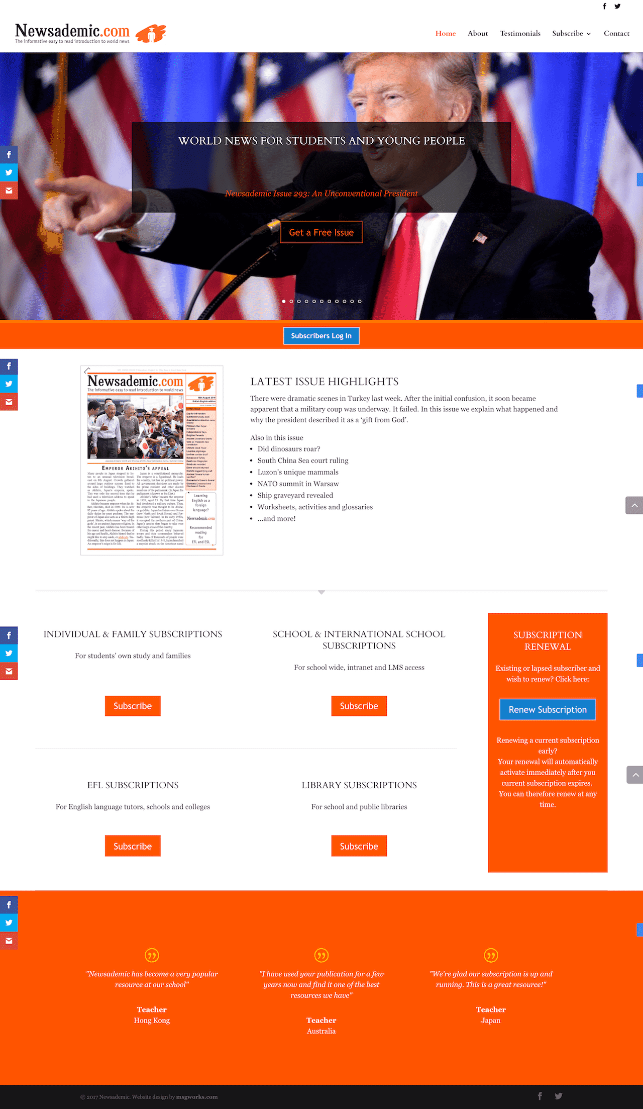 Newsademic Homepage Screenshot