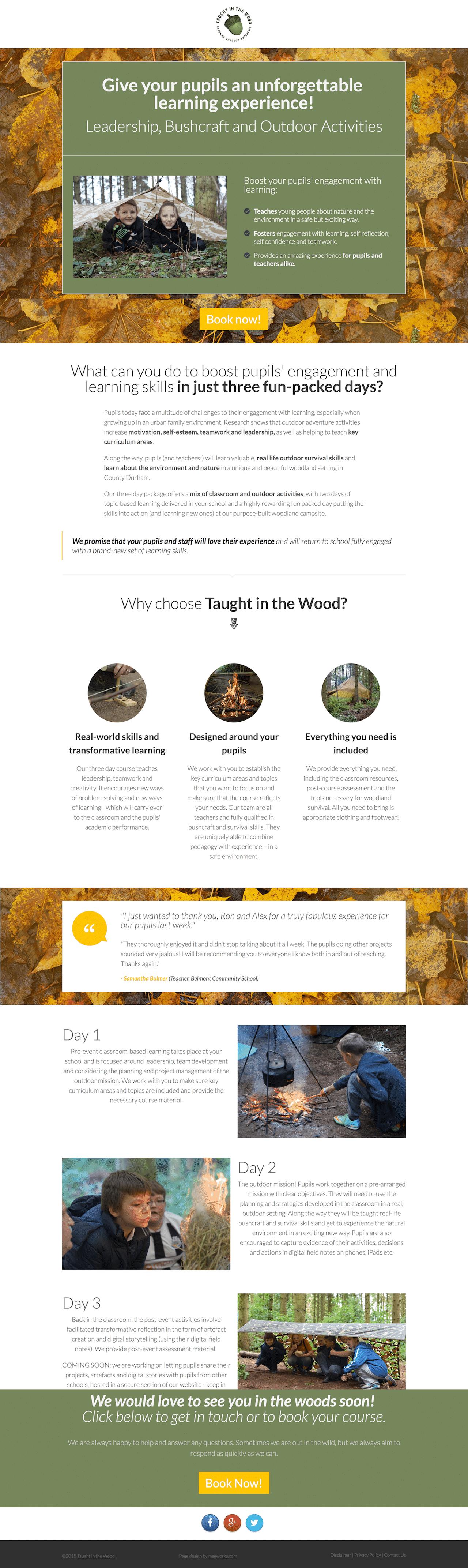 Taughtinthewood Landing Page Example 1